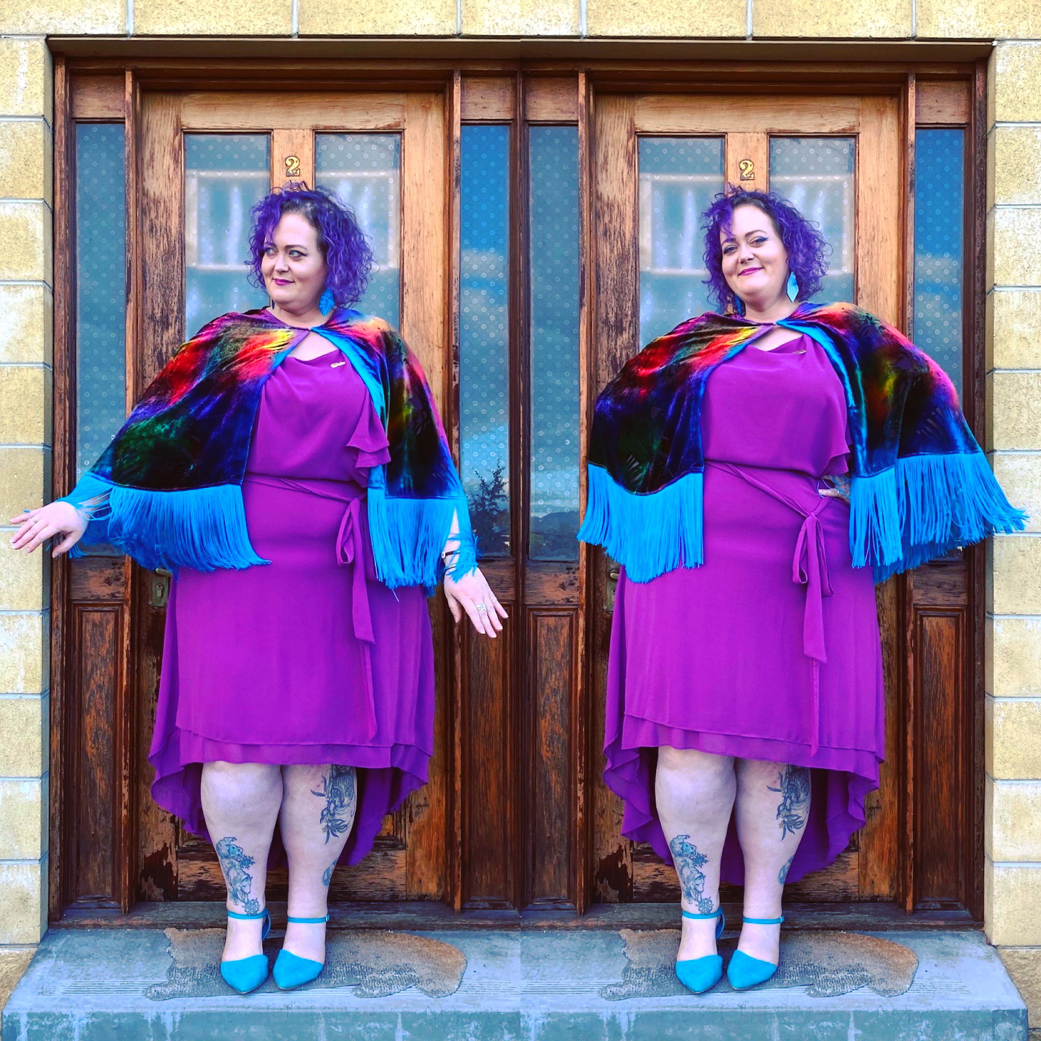 two side by side photos of fat woman with purple hair wearing a pink dress and a fabulous rainbow cape